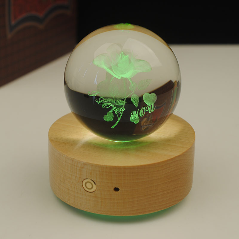 3D laser engraving beautiful engraving elk crystal ball music box with led base