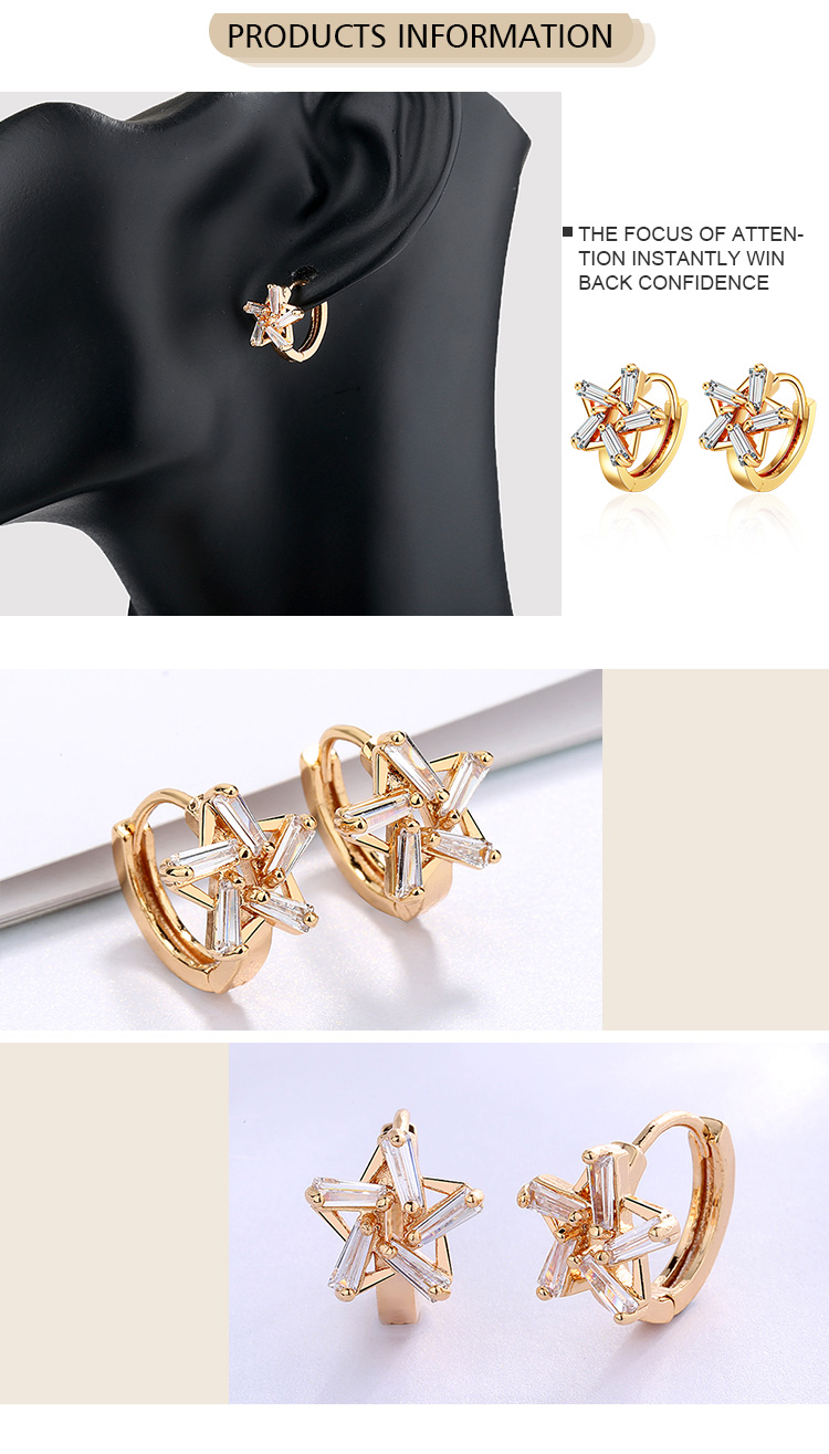 Hot Selling Gold Jewelry Fashion Wholesale Star Designs Unique Huggie Earrings For Women 2019
