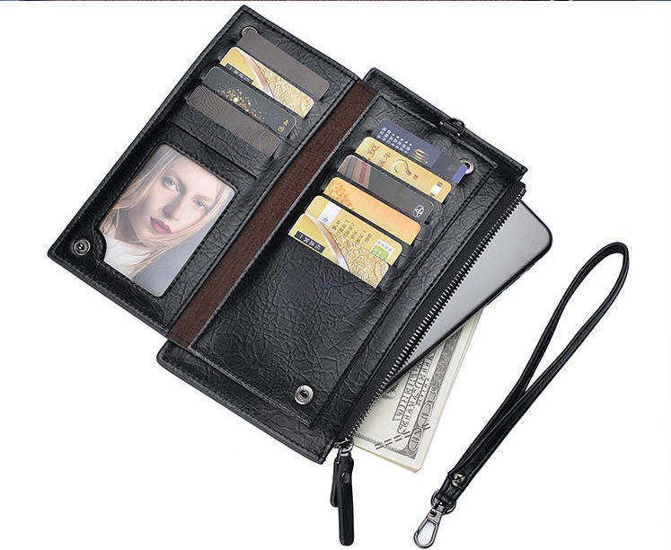 New leather long slim design zipper <strong>pocket</strong> wallet men's bag <strong>cell</strong> <strong>phone</strong> credit card holder