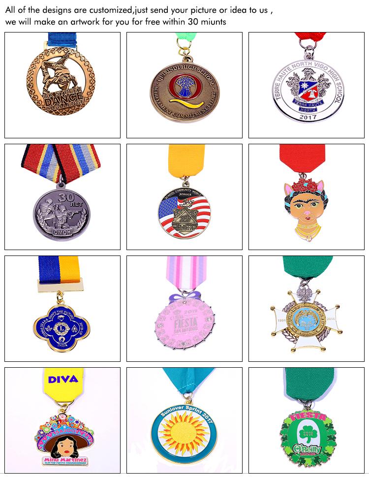 Fabriek gemaakt goede kwaliteit zinklegering sport Valse custom kleurrijke medaille gouden medaille