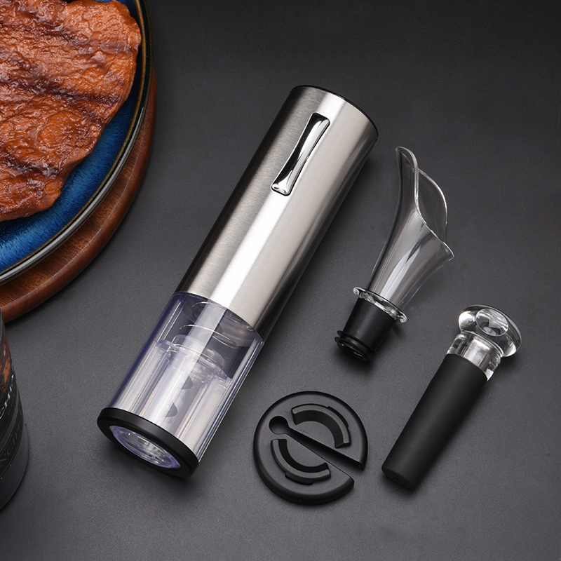 Food grade air pump electric bottle rechargeable wine opener sets with wine stopper and pourer