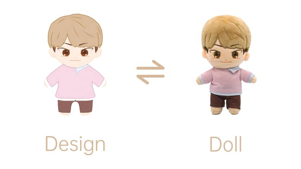 New Fashion Lovely Stand Up Custom Small Plush Dolls Custom Korean Star Doll Kpop Plush Idol Doll