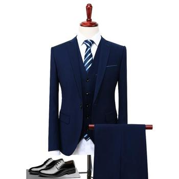 PJ2191A mens 3 piece coat pant formal suits woolen plaid slim fit custom blue suit latest design new style wedding suits tuxedo