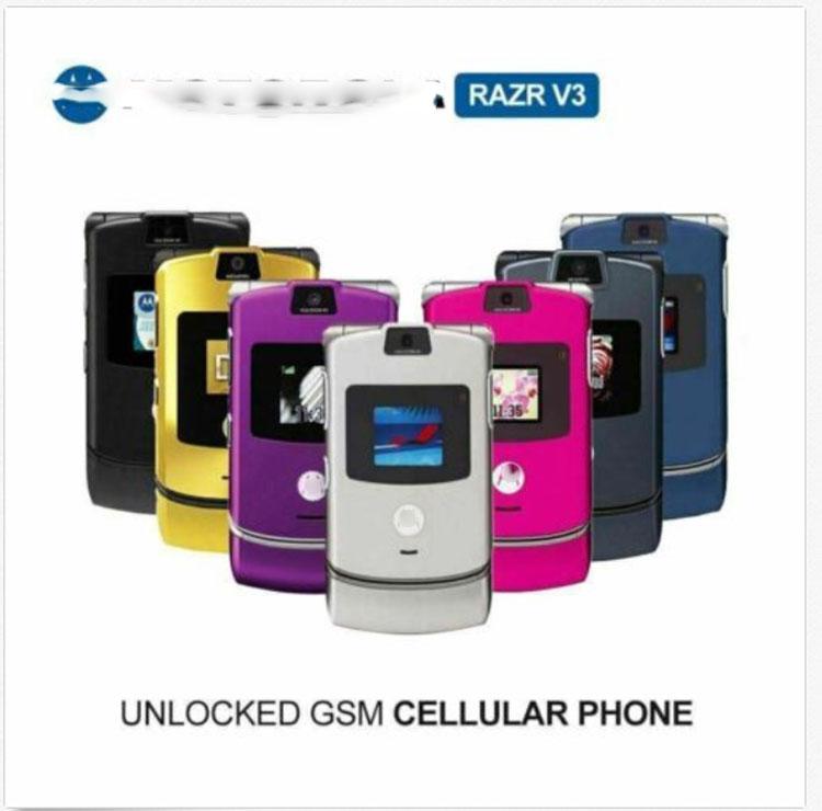 Flip Telefono for Motorola V3 Mobile Cell Phone in 8 color for MOTORAZR Mobile Phone Retro Collectors Edition