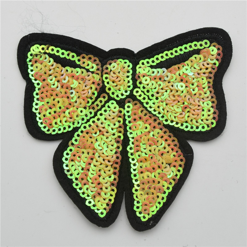 60pcs 6colors   buttfly star sequin Iron-On Applique/Embroidered Patch -Sequin Heart badge for clothes