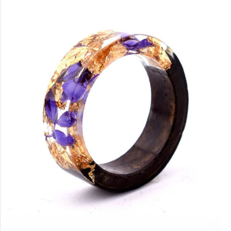 High Quality Epoxy Resin Ring Handmade Clean Ocean Clear Resin Wood Ring for Mens Womens
