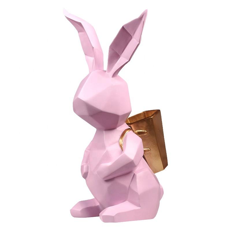 Ad  ขายร้อนเรซิ่นหัตถกรรมสัตว์ในร่มกระต่ายรูปปั้นแจกันด้านหลังสำหรับตกแต่งบ้าน