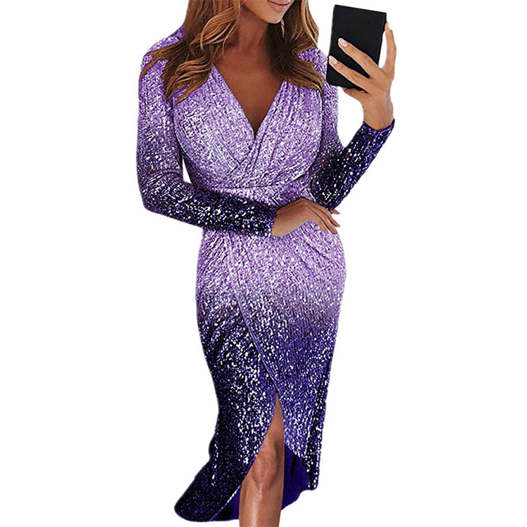 0051513 Newest Design V Neck Pleated Asymmetrical Ladies Sequin Dress Long Sleeve Gradient Color Women Party Dresses