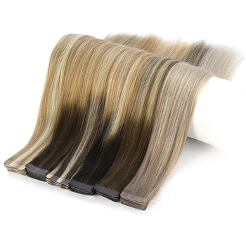 Wholesale Double Drawn 100% Human Hair Extensions, Invisible Tape In Hair Extensions Human Remy Skin Weft Tape Hair Extensions
