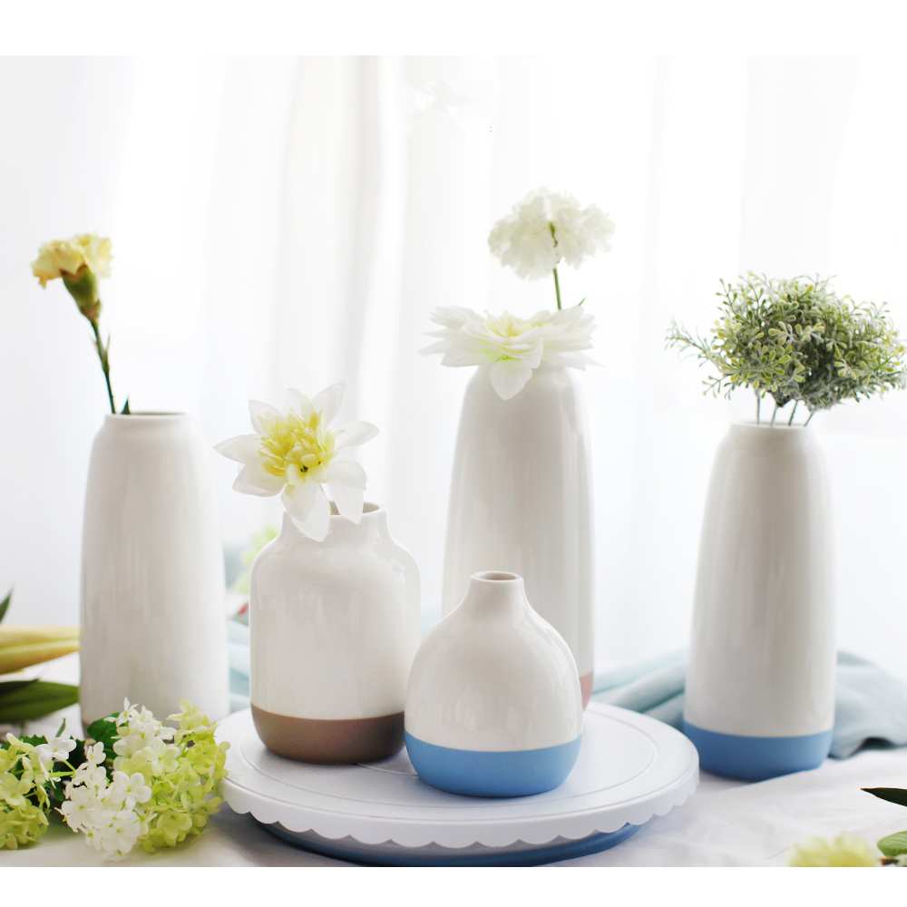Home decoration modern table cheap white porcelain flower vase with color base