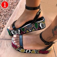 2020 INS Hot sale thick sole wedge design high heel sandals wholesale snake leopard ladies shoes women heels women's sandals