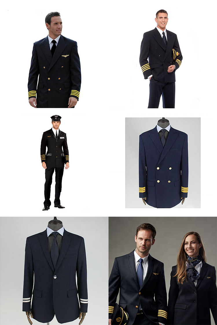 Factory Suppliers Airline Captain Pilot Navy Black Uniforms Overall Suit for Man and Women