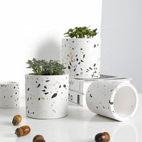 Cocostyles customized handmade rustic round terrazzo flower pot for fashion style home decor 2019 green plants pot