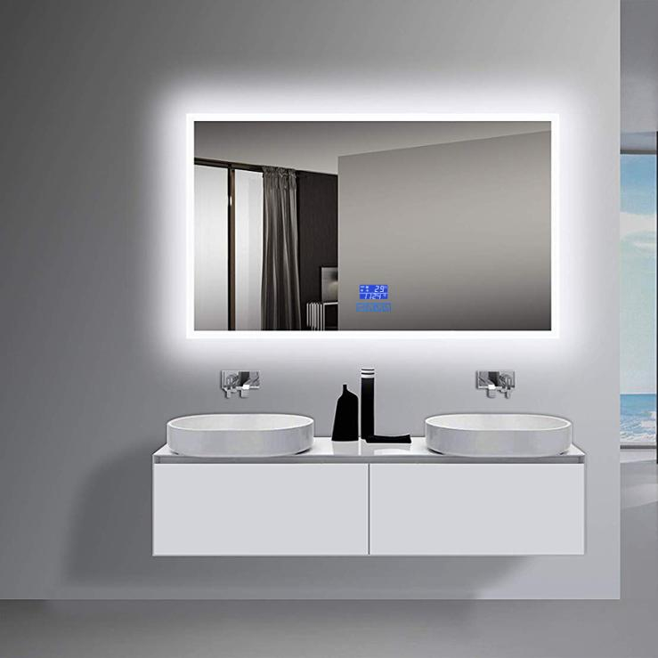 Large LED lighted wall mounted bathroom mirror Infrared Touchless Control High Lumen Dimmable Warm White Daylight