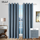Custom texture design black out blue colour window curtains wholesale for kitchen and living room