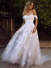 LORIE Boho Свадебное платье с открытыми плечами винтажные Кружевные Аппликации Свадебные платья Vestido De Novia на заказ(China)