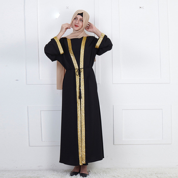 Wholesale 2019 Autumn hot selling dubai cardigan saudi robes with gold sequins jordan long sleeve front open abaya dresses