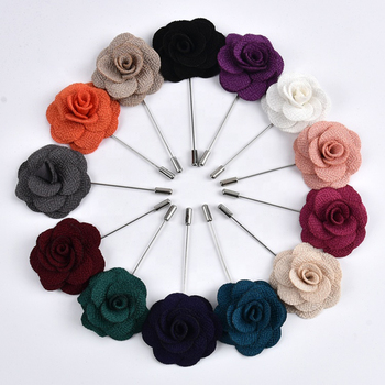 Wholesale bulk cheap wedding silk satin fabric suit lapel pin mens flower brooch