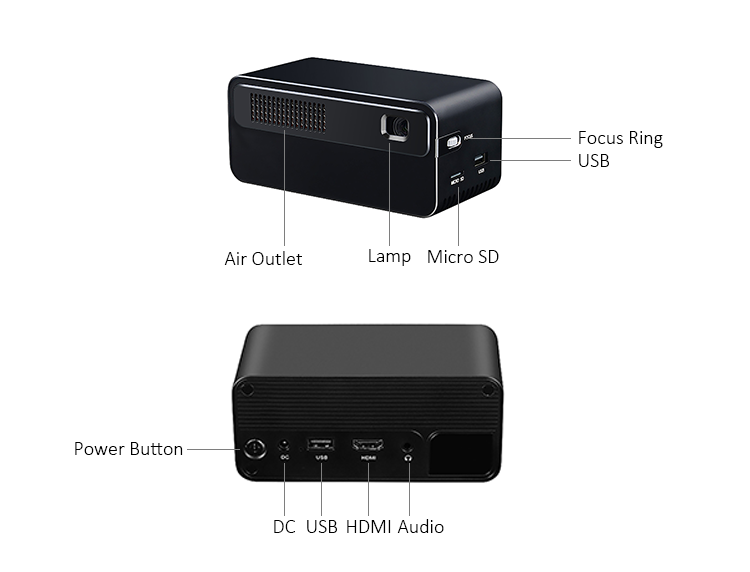 Mini Portable Logo Projector HD 1080P LED DLP Chinese Home Made Video Projector