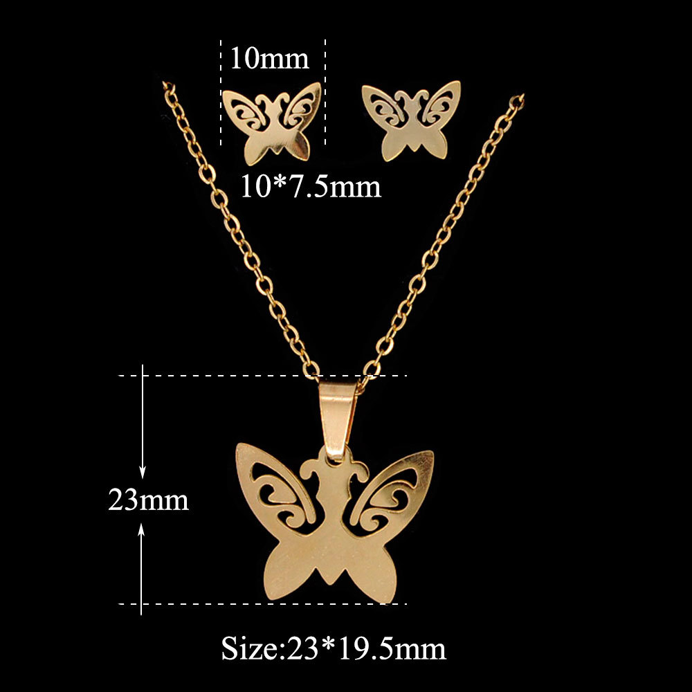 WX039 Trade Assurance 2020 New Stainless Steel Butterfly Animal Charm Necklace Earrings Gold Plated 2 Pcs Women Jewelry Set