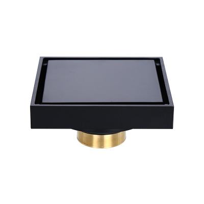 JOYODO Cheap Price Bathroom Black Grate Cover Strainer Auto-Close Anti-Odor Brass Floor <strong>Drain</strong> With Trap