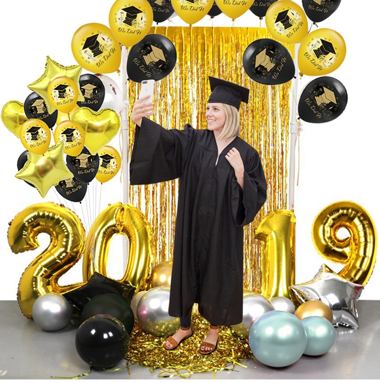 Graduation Balloons 2019 Confetti Ballons Printed Congratulation Graduation Gift High School Party Decorations Balloons Set