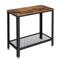 VASAGLE Industrial Wood Look Accent Metal Frame Rustic Brown Furniture with Small End Table Side Table 2-Tier Nightstand