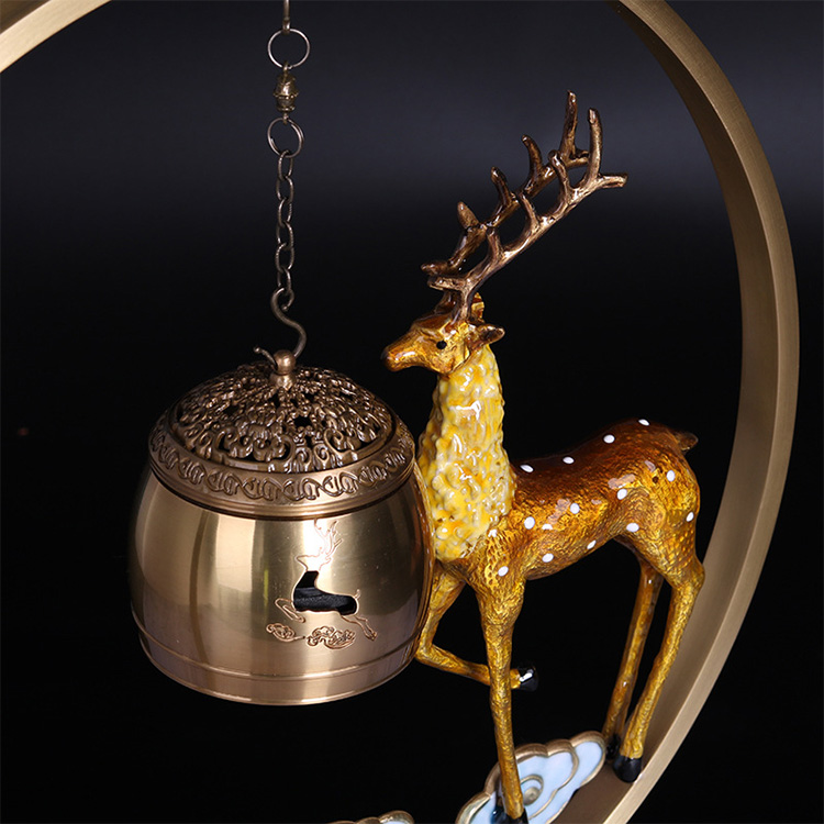 New hot selling high-quality metal hanging incense burner  copper-plated censer