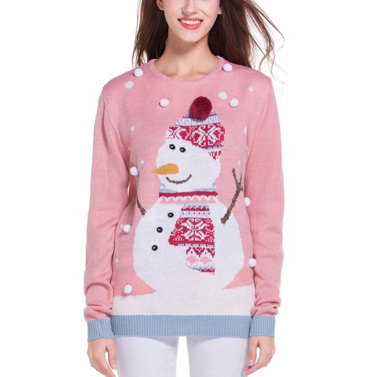 custom knit women christmas sweater merry 5xl jacquard funny ugly christmas sweater unisex
