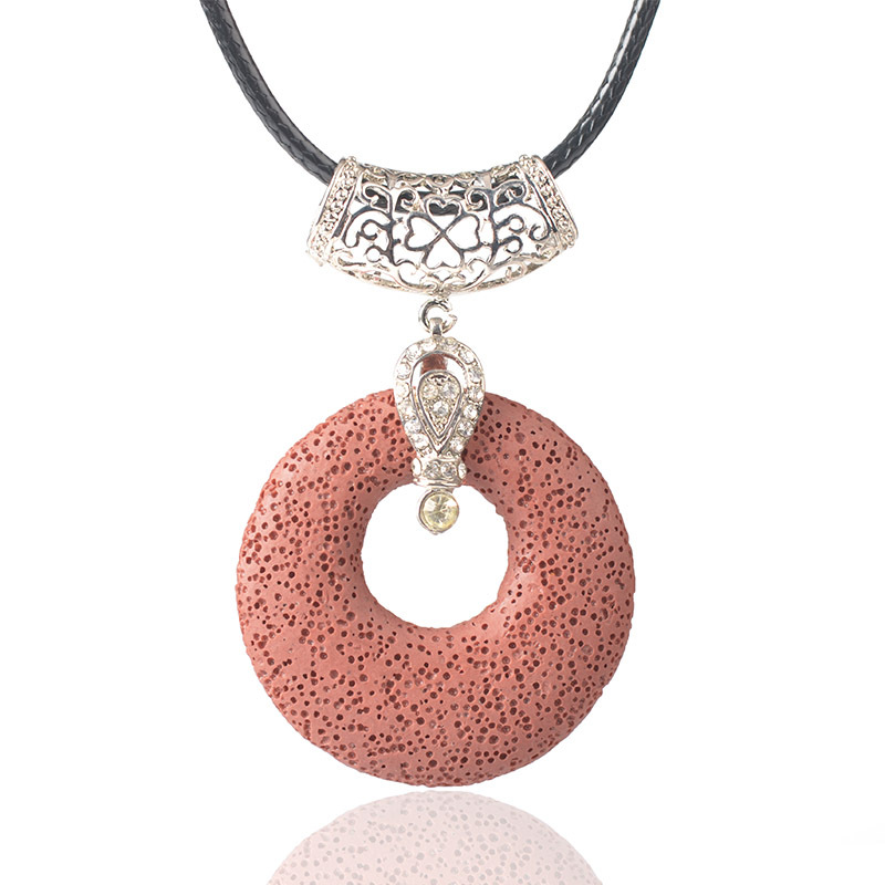 ZYX002 Trade assurance Volcanic stone DIY pendant hollow shape round handmade 10 colors charm to choose retro accessories
