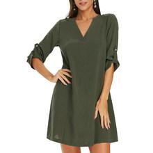 Женское Повседневное платье Nice-forever, летнее однотонное платье свободного кроя btyA179(Китай)