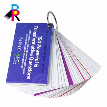 Free Design Colorful Printing Hot Stamping Promotional Learning Card With Wire Loop