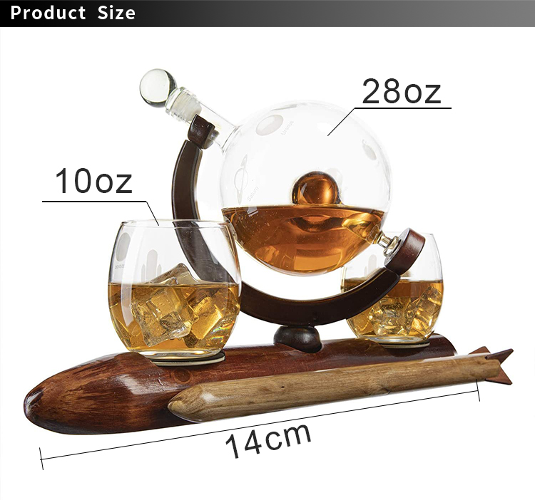 New Design Etched 1000ml Rocket Solar System Planets Globe Whiskey Decanter Set