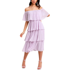 China factory sexy woman party plus size off shoulder tiered dress