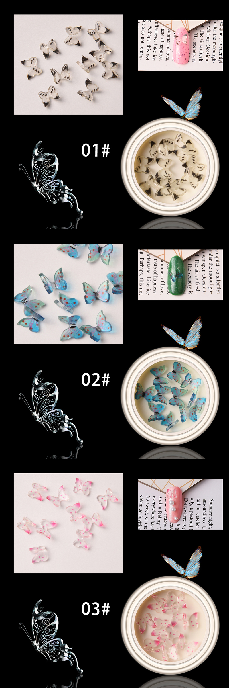 New arrival 14 colors resin material 3d nail art butterflies decals nail decorations butterfly nail art