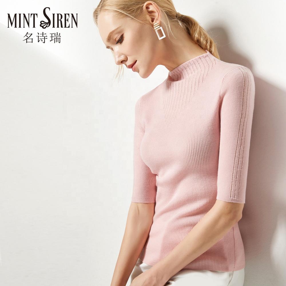 カスタマイズ可能な春ハーフスリーブ 100% 有機カシミヤ女性 v ネックファッションセータープルオーバー