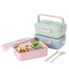 Microwave Heated Biodegradable Bento Tiffin Box Food Storage Container Wheat Straw Lunch Box