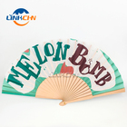 Paper Fans Wood Wood Fabric Fan Wholesale Custom Printed Wooden Paper Fabric Fans