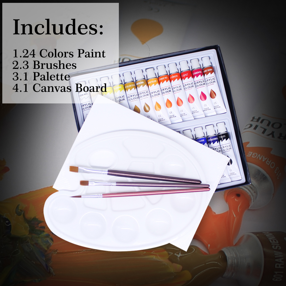 acrylic paint set 24 colors for kids Memory Original factory included brushes Palette and canvas EN71 ASTM MSDS certificated