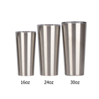 16oz 24oz 30oz wholesale stainless steel tapered beer mug big capacity double walled and insulated straight tumbler