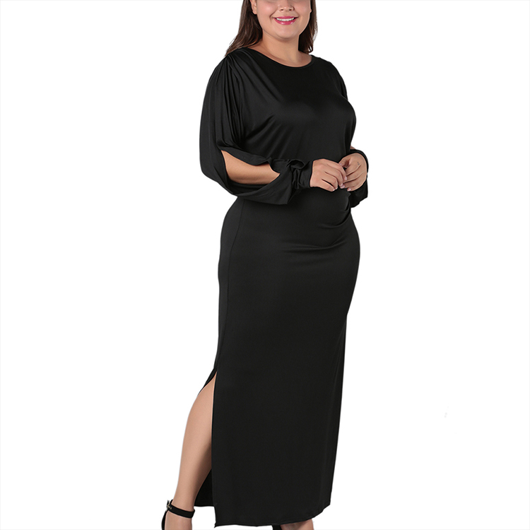 New Design Round Neck Hollow Out High Waist Women Casual Plus Size Dresses Sexy