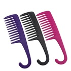 Portable small custom plastic hair comb portable shower comb with hook