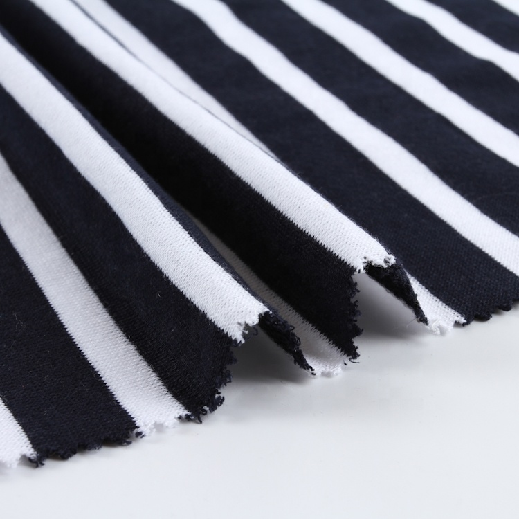 Black and white TC textile soft stretch knitted french terry stripe fabric