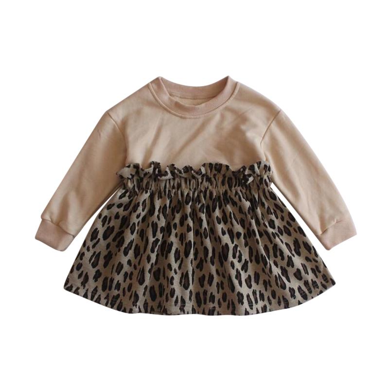 2020 nouveaux vêtements robe bébé filles robe léopard Patchwork mode coton printemps filles robes 1-6 ans vente en gros à manches longues