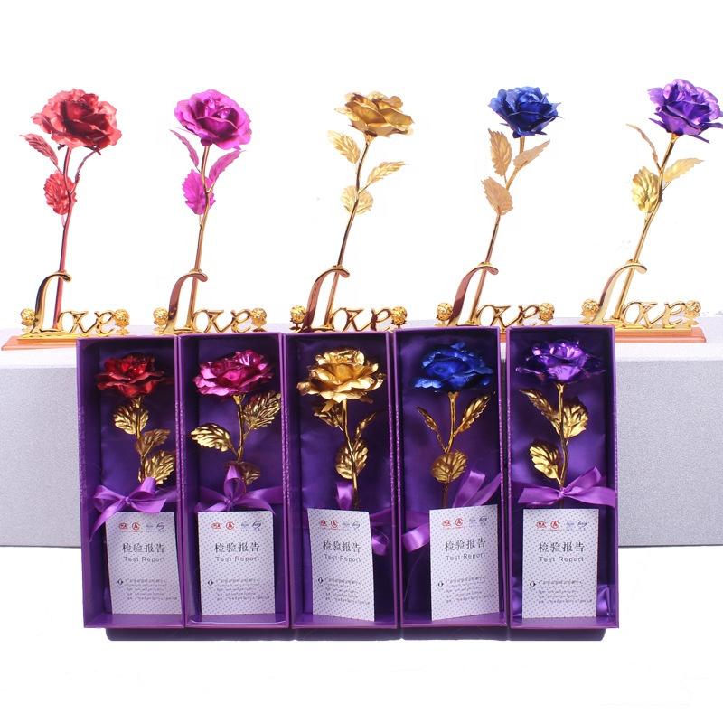 2020 Nieuwe Komende Bruiloft Decoratie Kunstmatige Bloem Valentines Gift Set 24K Golden Rose