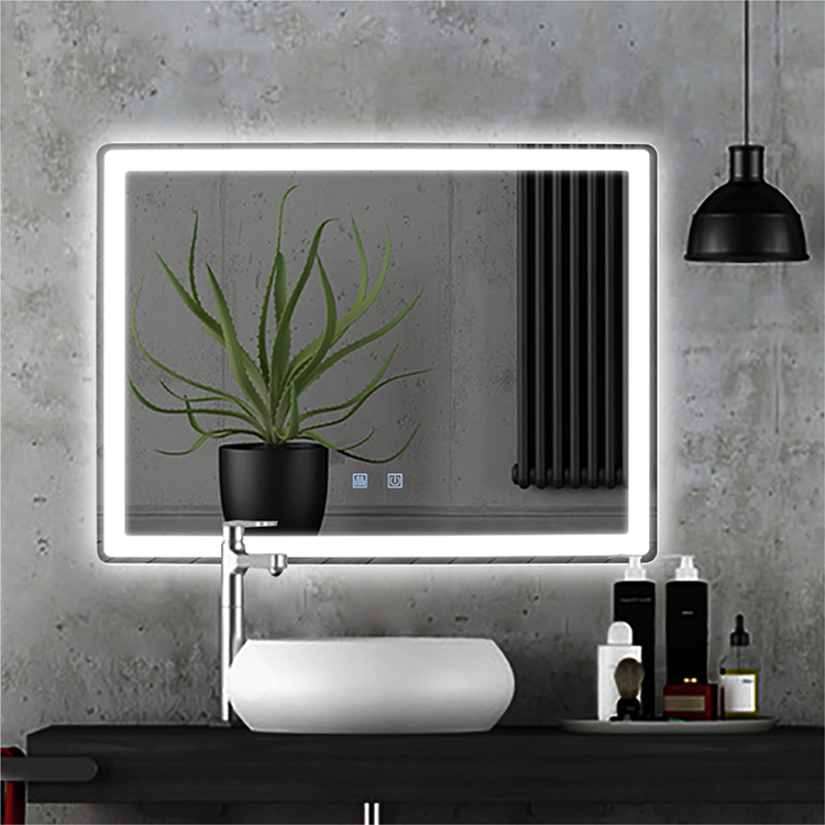 Hot sale modern style rectangular time display bathroom customized LED backlit defogger smart mirror wall mirror