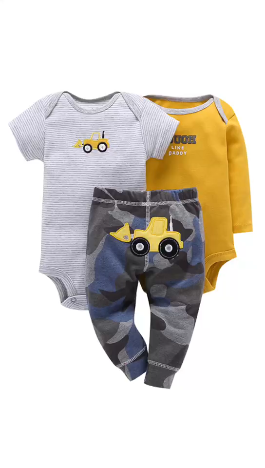 Guangdong 3pcs Baby Clothing Pants Romper Set Suits New Born Baby Clothes Set