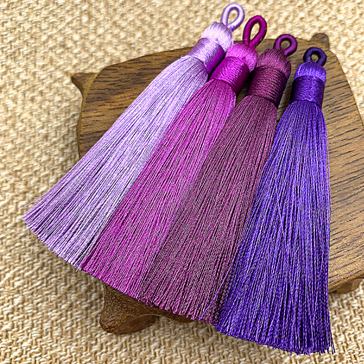 NANA high quality free sample 7.5cm ice silk tassels with 1cm loop