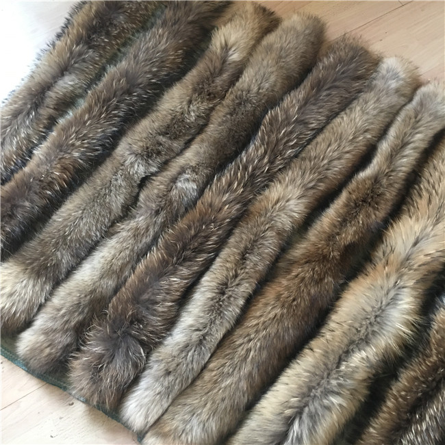 Genuine Raccoon Fur Collar Hood for Garment