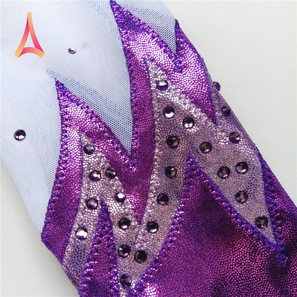 Silver Purple Ombre Long Sleeve Gymnastics Leotards